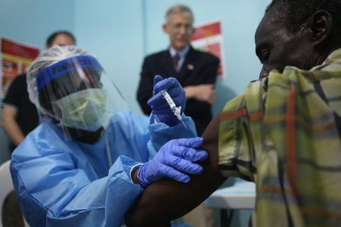 A nurse administers an injection on the first day of the Ebola vaccine study being conducted at Redemption Hospital, formerly an Ebola holding center, on February 2, 2015 in Monrovia, Liberia.