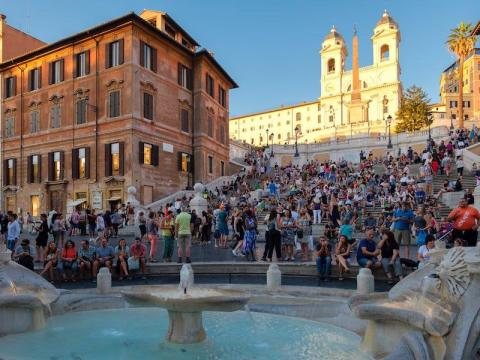 BEFORE: People love taking photos at the Spanish Steps in Rome.