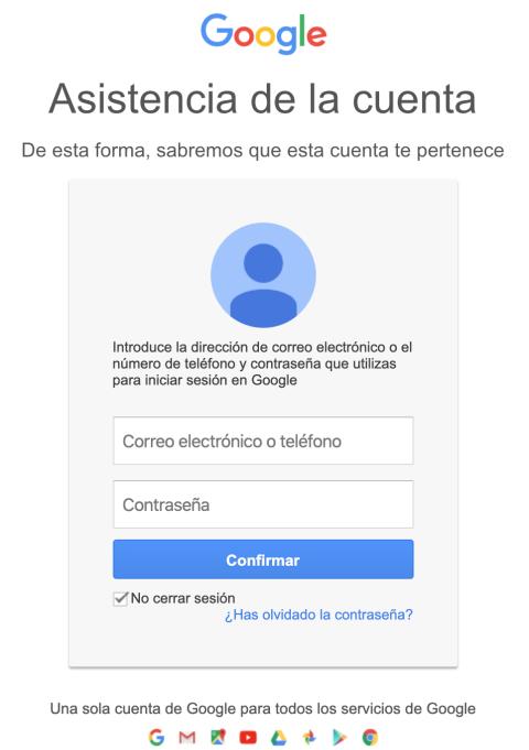 Inicio de sesión falso de Google.