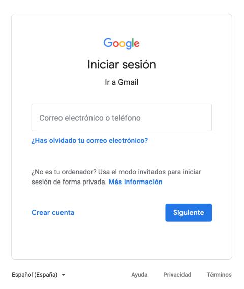 Inicio de sesión verdadero en Google.