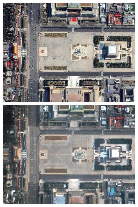 Plaza de Tiananmen (China) entre febrero y marzo de 2020.
