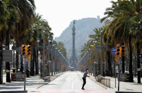 Primer día de estado de alarma: Paseo Colon - Barcelona