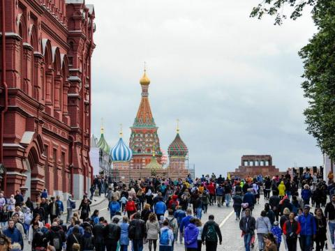 BEFORE: Red Square in Moscow attracts tourists and visitors alike with its colorful Saint Basil's Cathedral.
