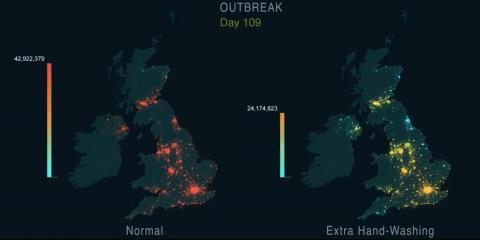 Simulación del estudio británico sobre la propagación de las pandemias y cómo ralentizarlas con el lavado de manos.