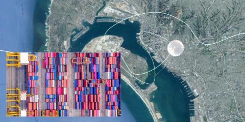 Simulación de un Stratolliter de World View vigilando un recinto portuario.