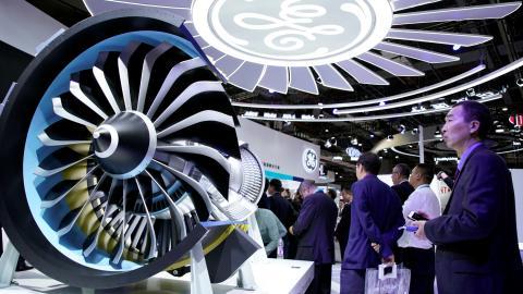 El stand de General Electric en la Feria Internacional de Exportación e Importación de Shanghai
