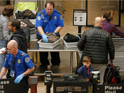 Un control de seguridad de la TSA.