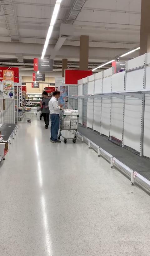 Un supermercado vacío en Sydney (Australia).