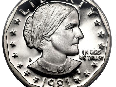 Moneda de dólar Susan B. Anthony.