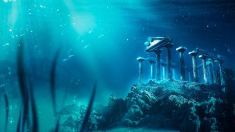 Ilustración 3D inspirada en la leyenda de la ciudad perdida de Atlantis.