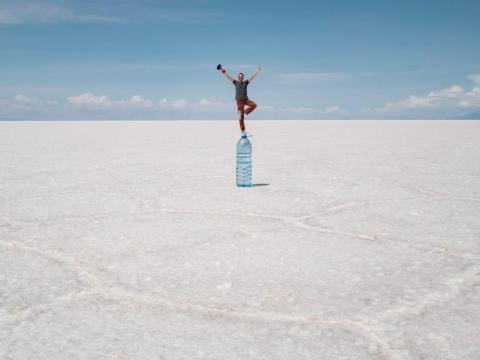 Ilusión óptica fotografiada en Bolivia.