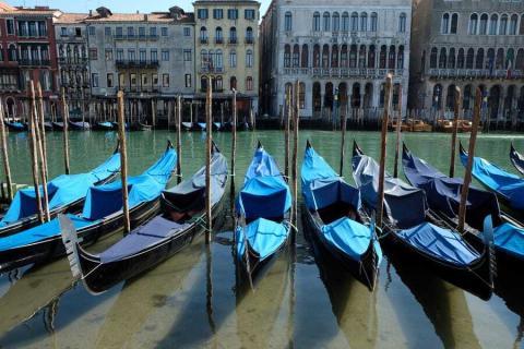 Una fila de góndolas en las claras aguas de Venecia.