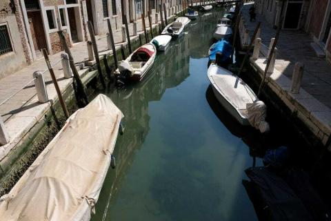Un canal con muchos barcos estacionados tiene sus aguas despejadas hasta el fondo.