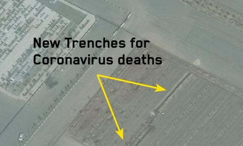 Imagen de las zanjas de 90 metros excavadas en un cementerio iraní a final de febrero.