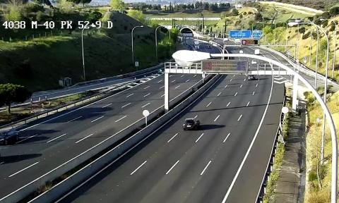 Así estaba la vía de circunvalación de Madrid M-40 el miércoles 25 a las 8.40 horas.