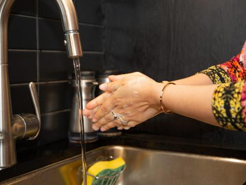 Use soap and warm water to clean your hands.