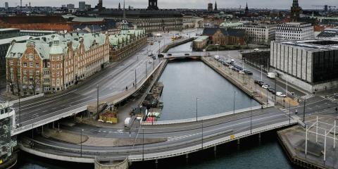 La ciudad de Copenhague (Dinamarca), desierta durante la pandemia de coronavirus.