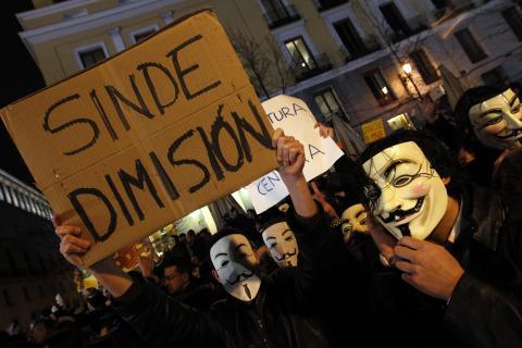 Una de las primeras protestas de Anonymous en España fue en los Goya de 2011, contra la Ley Sinde.