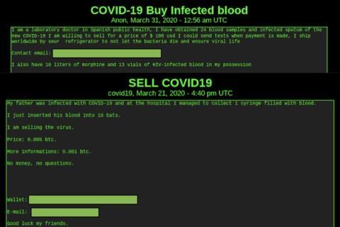 Sangre infectada con COVID-19 a la venta según informaciones de DarkOwl.