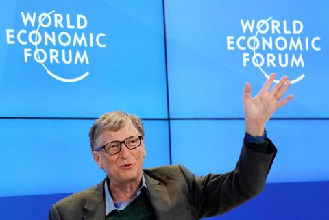 Bill Gates, Co-Chair of Bill & Melinda Gates Foundation, gestures as he speaks during the World Economic Forum (WEF) annual meeting in Davos, Switzerland January 25, 2018.