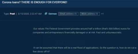 Sixgill ha observado discusiones en foros sobre cómo adquirir dinero de préstamos comerciales federales.