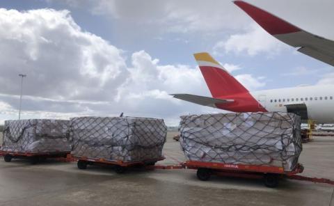 El corredor sanitario ha permitido ya la llegada de cinco vuelos con material sanitario