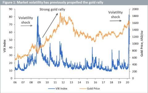 Correlación entre el precio del oro y la volatilidad de los mercados.