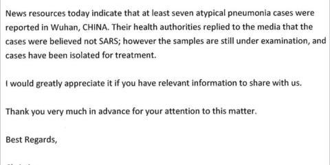 El correo de Taiwán a la OMS el 31 de diciembre.