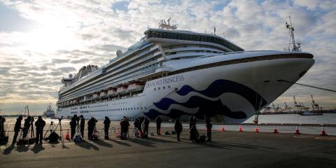 El crucero Diamond Princess anclado en la terminal de cruceros del muelle Daikoku en Yokohama el 7 de febrero de 2020.