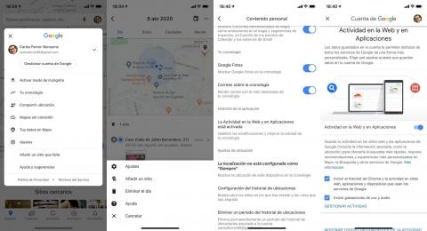 Desactiva la cronología en tu móvil si no quieres que Google recopile tus datos