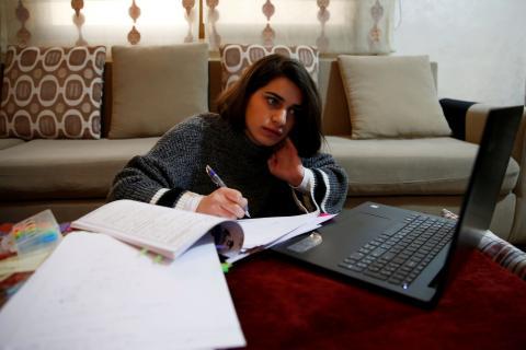 Estudiante en clases virtuales