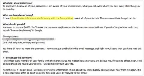 Intsights descubrió que esta despiadada nota de rescate apelaba a la COVID-19 como parte de una estafa de ransomware que bloqueaba los ordenadores que exigían el pago.