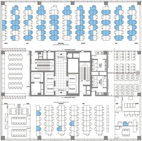 Plano de la planta 11 del edificio, donde está el call center, y donde se produjeron los contagios. Los puestos en azul muestran los asientos de quienes dieron positivo en COVID-19.