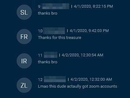 Los hackers de Zoom se agradecen el acceso en esta captura de pantalla de un foro de la dar kweb descubierto por la compañía de ciberseguridad Sixgill.
