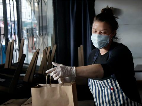 Kim Alter, the chef and owner of Nightbird Restaurant — not the restaurant that the researchers focused on —prepares meals that were delivered to hospital workers in San Francisco on March 27.