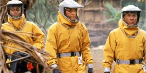 """(L-R) Cuba Gooding Jr, Kevin Spacey, and Dustin Hoffman in """"Outbreak."""""""