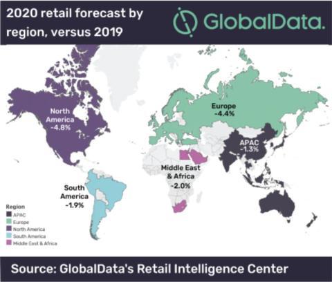 El mapa muestra el gasto en 2020 de regiones clave en comparación con 2019 de los 49 países que se han analizado, según las previsiones de GlobalData