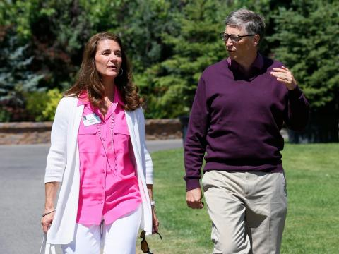 Meanwhile, his wife Melinda Gates is working from home and enjoying the great outdoors.