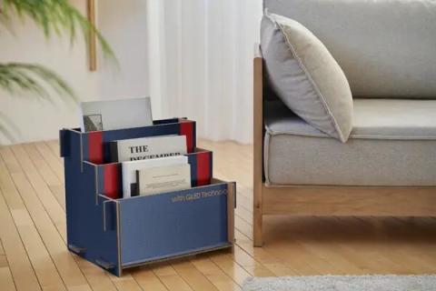 Mueble de Samsung para guardar libros y revistas