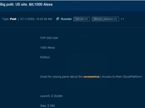 En esta captura de pantalla hecha por Sixgill, un pirata informático intenta subastar el acceso a una página web política de las 200 principales.