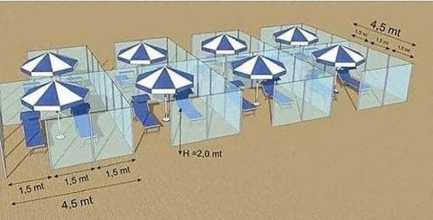 Recreación de las mamparas de plexiglás propuestas para evitar contagios en la playa.