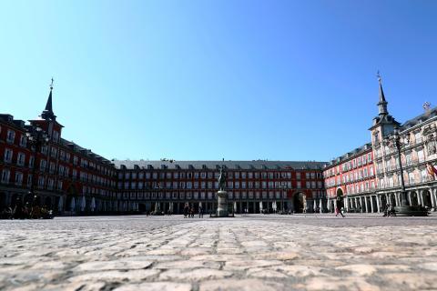 Plaza Mayor de Madrid durante el confinamiento por el coronavirus