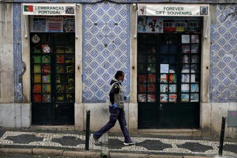 Una calle de Lisboa durante la pandemia de coronavirus