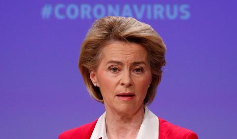 La presidenta de la Comisión Europea, Ursula von der Leyen, anuncia medidas contra el coronavirus en la eurozona