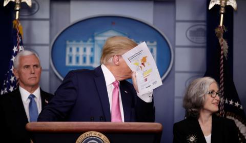 El presidente de EEUU, Donald Trump, en una rueda de prensa en la Casa Blanca