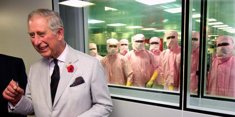 Prince Charles visits the Serum Institute in November 2013 in Pune, India.