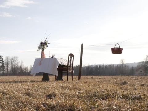 The restaurant consists of a single table and chair in a field in Värmland, Sweden.