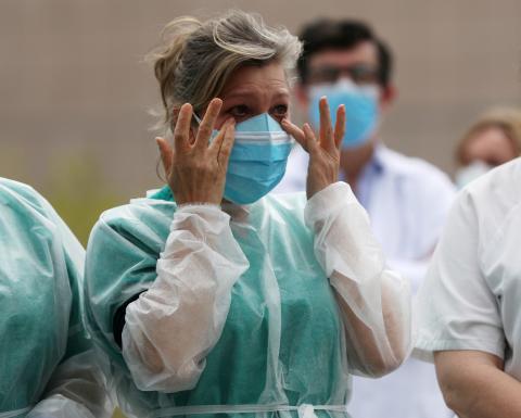 Sanitarios en el Hospital General de Segovia.