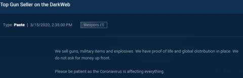 Un traficante de armas pide a los clientes que sean pacientes en esta captura de pantalla de la dark web de la compañía de seguridad cibernética Sixgill.