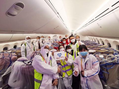 Un vuelo de carga de Virgin Atlantic que transportaba suministros médicos al Reino Unido.